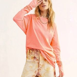 Free People Arden long sleeve tee neon Lemonade S